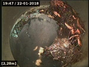 Footage from a drain camera inspection.